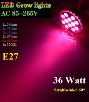 36W LED Grow Light 6 Range Plant Lamp Bulb Growlight Full Spectrum 12x3W PAR38 E27 Base