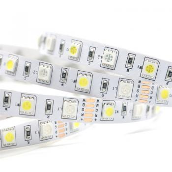 5m 12V Led RGB+WW Warmweiss Streifen Stripe IP65 Wasserfest SMD5050 300leds 14.4W/m Band Leiste flexibel dimmbar
