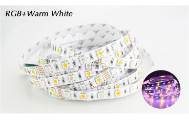 5m 12V LED Stripe Streifen RGB+WW Warmweiss 3200K SMD 5050 IP20 14,4W/m dimmbar