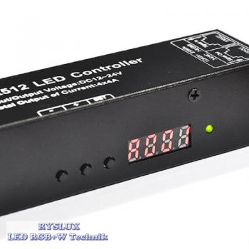 LED DMX 512 Controller Decoder RGB 3 Kanal 3x4A Digital Display RJ45 PWM Dimmer