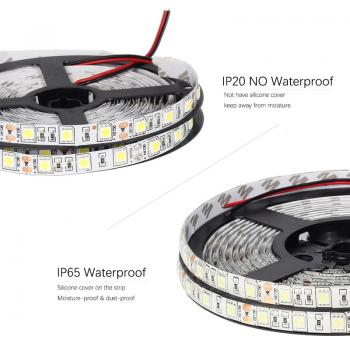 5m 12V LED Stripe Warm White 3200K 60leds/m SMD5050 300leds 14.4W/m  IP20 not Waterproof dimmable