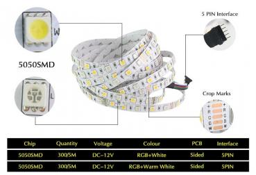 5m 12V LED RGBW White 6500K Stripe SMD5050 dimmable RGB+W 60leds/m IP20