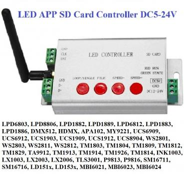 WIFI LED APP Digital Strip Pixel SD Card Controller DMX 512 Streifen APA102 WS2812B