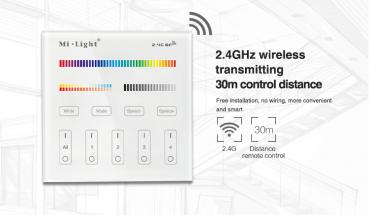 Mi-Light LED RGB+CCT RGBWW B4 Smart Touch Panel Remote 4 Zone WIFI Controller Battery