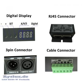 LED DMX512/1990 Decoder 4x4A Digital Display RGBW 4 Channel RJ45 12V 24V Input Output