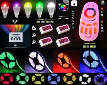 Mi-Light SET 5m LED Stripe 12V RGB+W SMD 5050 + 2.4G 4 Zone RF Remote Touch Panel + RGBW Controller