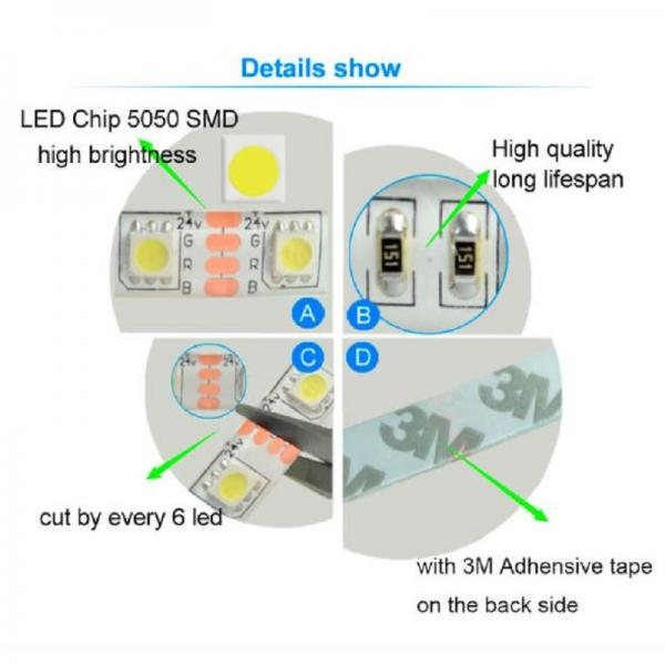 5m 24V LED Stripe Warm White SMD 5050 60leds/m 300leds IP20 non Waterproof dimmable