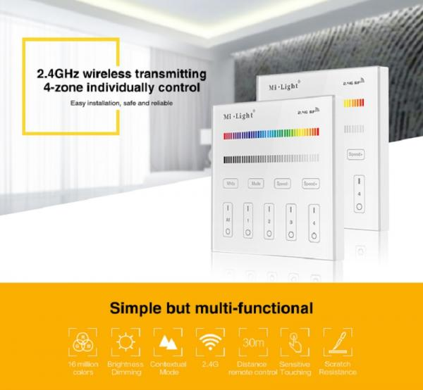 Mi-Light T4 LED RGB+CCT Smart Touch Panel Remote control 4 Zone RF 2.4G WIFI Controller AC100-240V Power RGBWW Dimmer