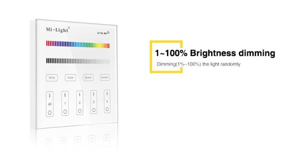Mi-Light T4 LED RGB+CCT Touch Panel Wandschalter WIFI RF 2.4G Controller AC100-240V
