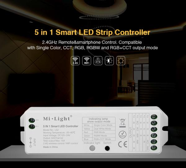 Mi-Light B8 Wall-mounted Touch Panel FUT089 8 Zone remote RF dimmer LS2 5in1 smart led controller for RGB+CCT led strip