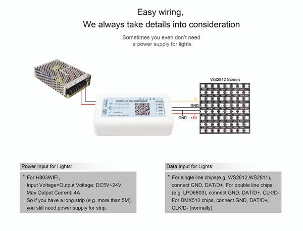 LED WiFi Wlan Digital Strip Controller 2048 IC Pixel support ArtNet WS2811 WS2812 DMX512 APA104 WS2812B