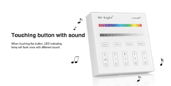 Mi-Light B3 LED RGB RGBW Smart Touch Panel Remote 2.4G 4 Zone WIFI Controller Battery