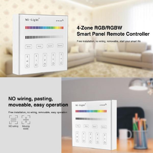 MiBoxer RF 2.4G LED RGBW Controller Dimmer 4 Zone Touch Panel Remote WIFI WLAN Smartphone APP Mi-Light