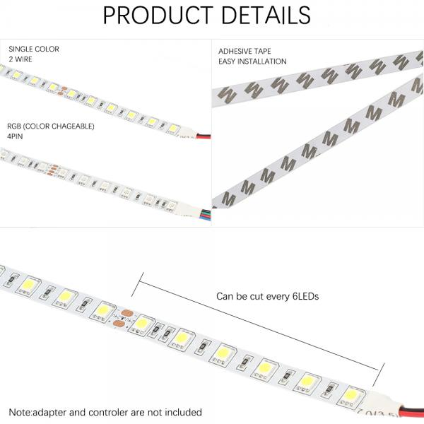 5m 24V Led Stripe White 6500K SMD 5050 IP20 300leds 60leds/m dimmable flexible