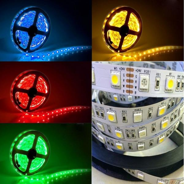 5m 24V Led Stripe RGB+WW Warm White IP65 Waterproof SMD 5050 19.2W/m flexible dimmable