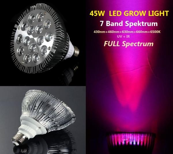 45 watt LED plant light 7 band 6500K lamp Grow plants bloom E27 Full Spectrum 45W PAR38
