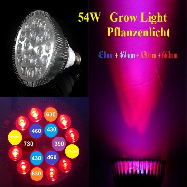 54W LED Grow Plant Light 7 Range 6500K Full Spectrum Bloom Flower PAR38 18x3W E27