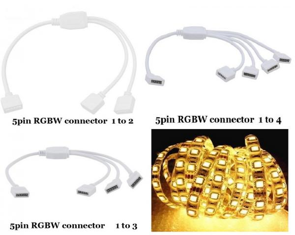 5-PIN RGBW RGB+W 1 to 4 Splitter Cable Connector Extend Wire LED Stripe