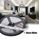 5m 12V Led Stripe Streifen Warm Weiss 3200K SMD5050 IP65 14.4W/m dimmbar flexible 60leds/m 300leds
